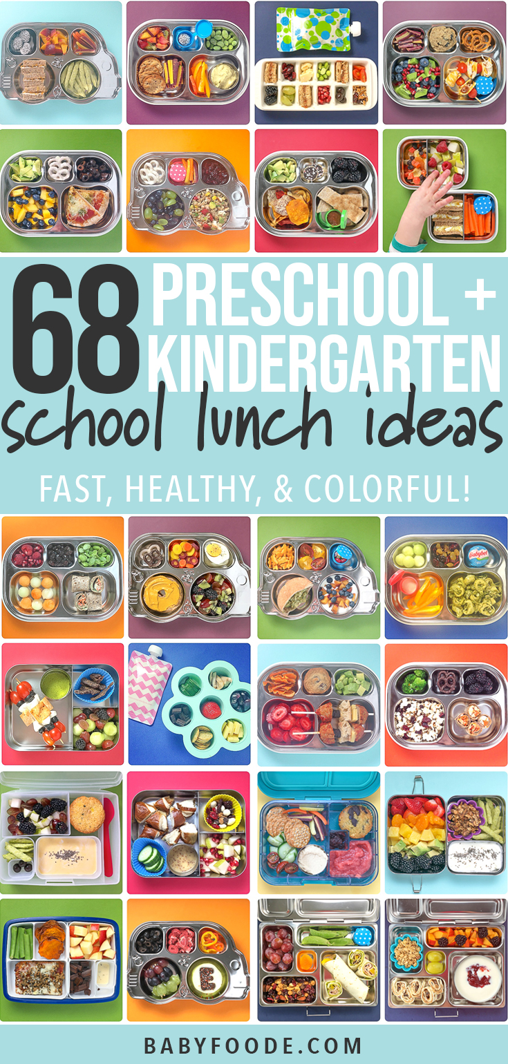 A grid of lunches showing off 68 Preschool + Kindergarten School Lunch Ideas - Fast, Healthy & Colorful!