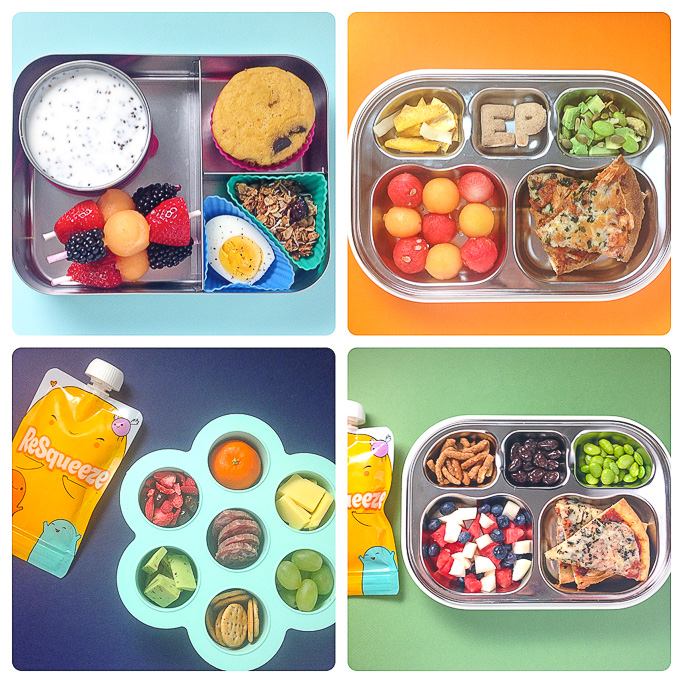 A grid of 4 school lunches that are great for toddlers or preschoolers.