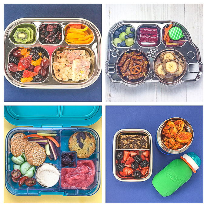 A grid of 4 healthy school lunches for toddlers and preschoolers.