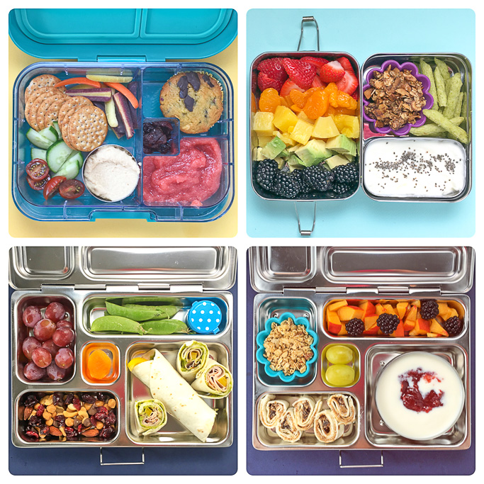 4 different school lunches in bento boxes against different backgrounds.