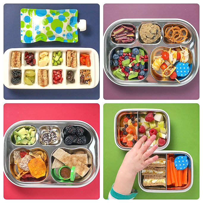 A grid of 4 different colorful and healthy lunch ideas for kids.