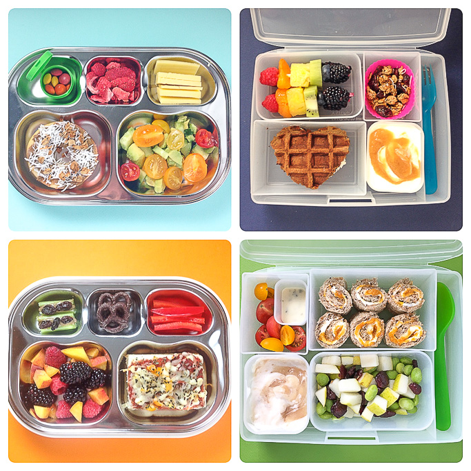 4 different school lunch ideas for toddler and preschooler.