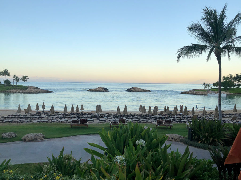 Sunrise over the beach at Disney Aulani - best things do to.