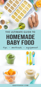 Collage of homemade baby food for post graphic - The ultimate guide to homemade baby food - tips - methods - equipment.