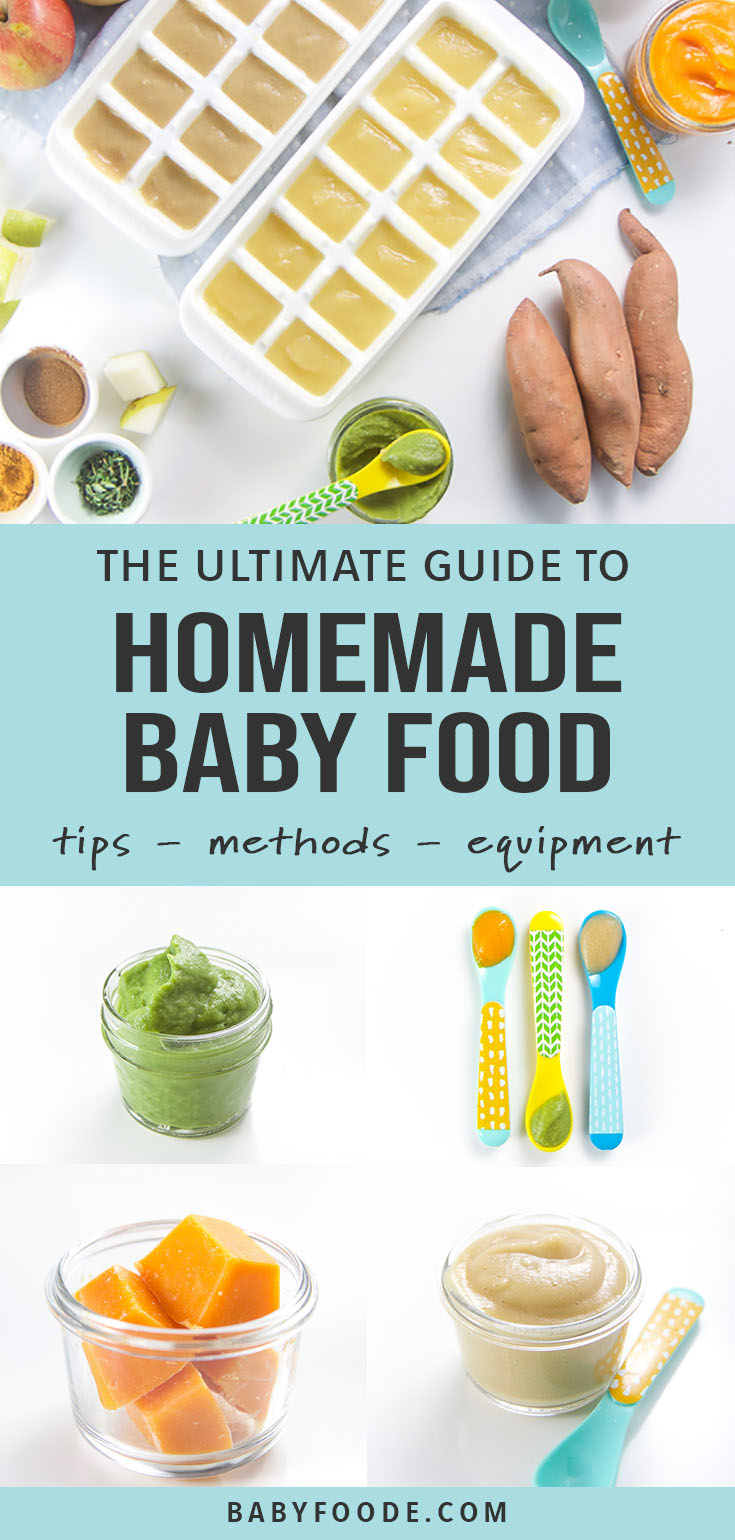 A collage of images showing the tools and ingredients for how to make homemade baby food.