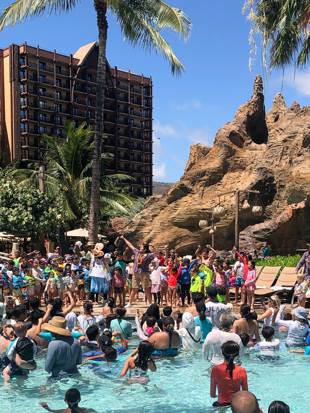 Pool party at Disney Aulani with Mickey mouse.