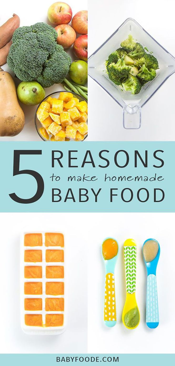 Collage of images of homemade baby food - 5 reasons to make your own baby food purees.