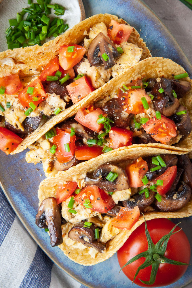 vegetarian breakfast tacos with mushrooms and egg.