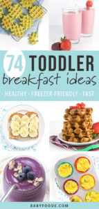 Graphic for post - 74 toddler breakfast ideas - healthy - freezer-friendly - fast! Grid of images of breakfast items.