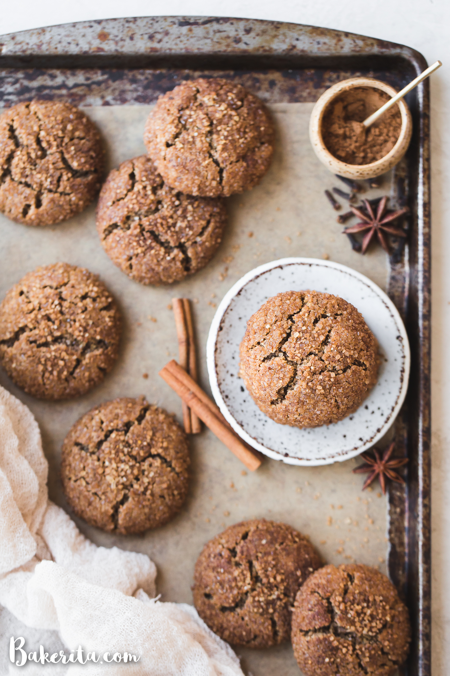 Meet your new favorite chewy cookie - these Gluten-Free Vegan Chai Sugar Cookies! These Paleo-friendly cookies have a crispy exterior with a tender, chewy center. They're the perfect pairing for nut milk, tea, or coffee.