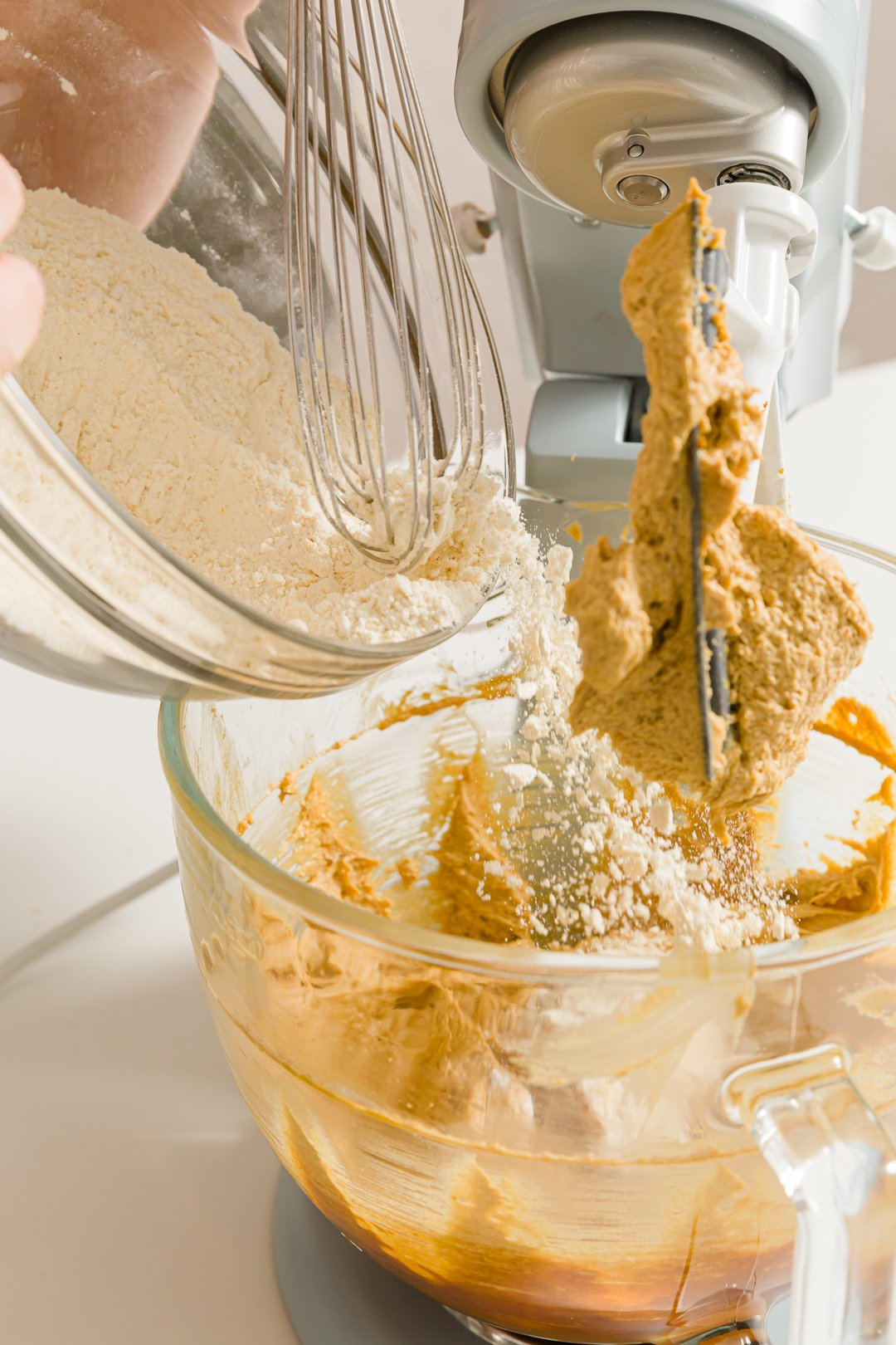 Adding dry ingredients to the batter