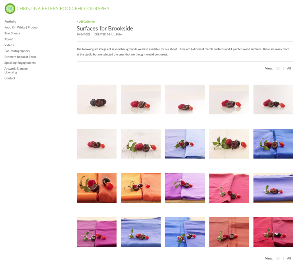 Screen shot of a private gallery showing various surfaces for a food shoot