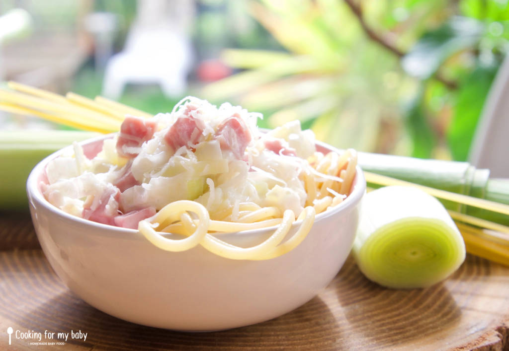Carbonara pasta with leeks recipe for babies (From 12 months)