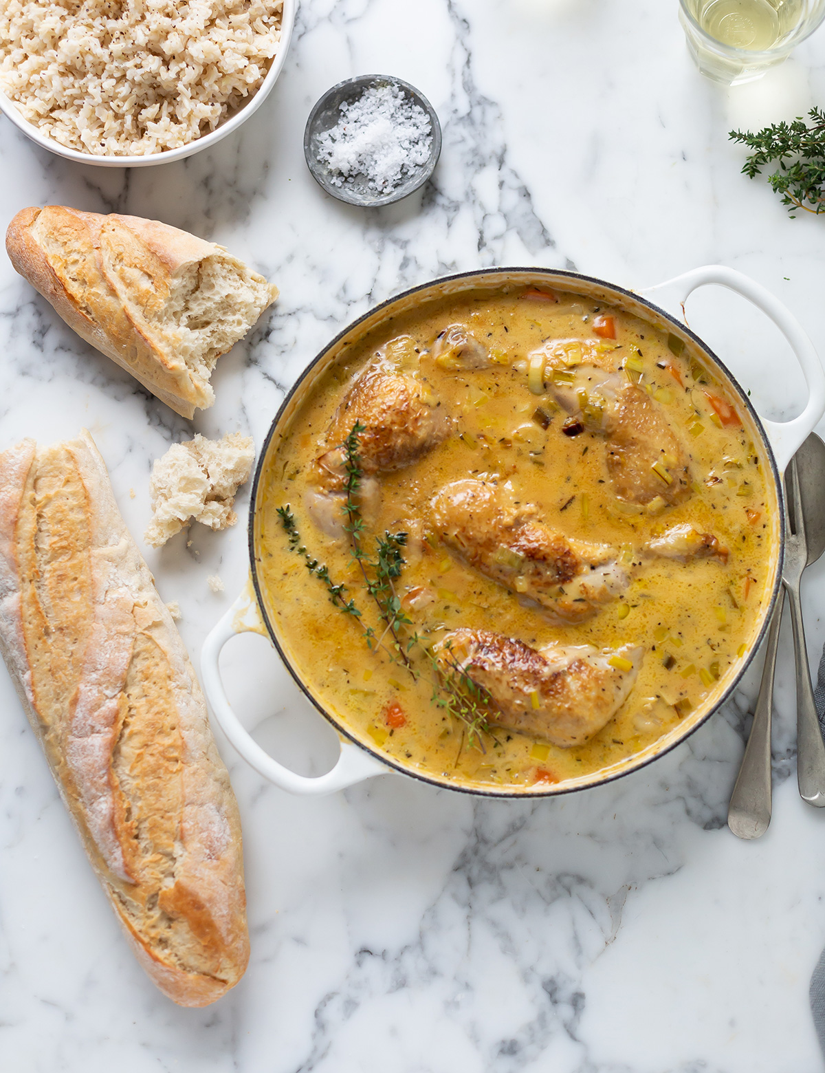 Creamy chicken with braised leeks & carrots recipe
