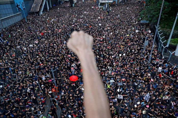 A first being thrust into the air is blurry against a sea of protesters below it.